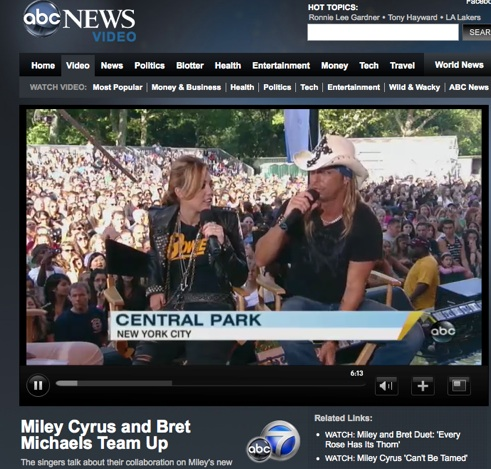 Miley Cyrus and Bret Michaels